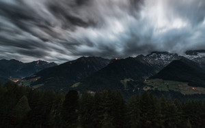 Смотреть обои Alps, Mountains, Clouds, Fires