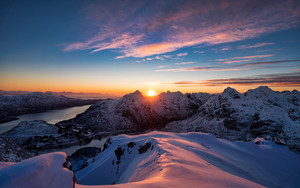 Preview wallpaper Landscape, Mountain, Nature, Norway, Snow, Sunrise