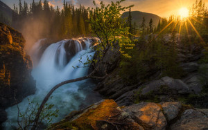 Смотреть обои Earth, Rock, Sun, Sunset, Tree, Waterfall