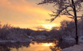 Preview wallpaper  <b>Sunset</b>, Winter, Frozen River