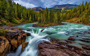 Смотреть обои Earth, Mountain, River, Forest, Waterfall
