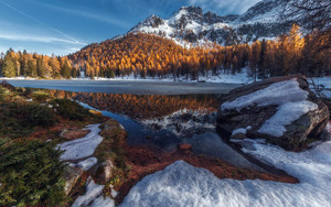 Preview wallpaper lake, landscape, mountain, nature, snow, winter