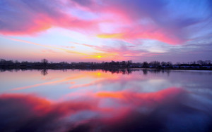 Смотреть обои Lake, Sunset, Reflection, Sky, Horizon