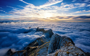 Preview wallpaper  Saentis <b>Mountain</b>, Clouds, Switzerland