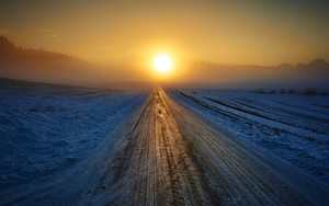 Смотреть обои Road, Winter, Snow, Sunset, Horizon