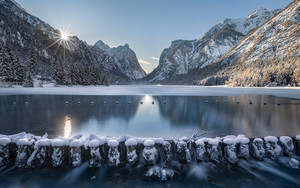 Preview wallpaper Lake, Mountain, Toblacher, See, Winter