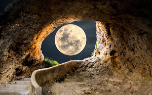 Preview wallpaper moon, between,gap,rock, arch, night, time, nature