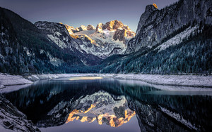 Preview wallpaper Lake, Mountain, Nature, Reflection, Winter