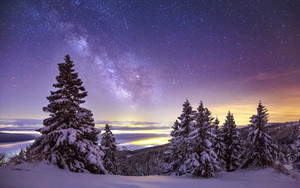 Preview wallpaper Milky Way, Sky, Snow, Starry, Sky Stars, Winter