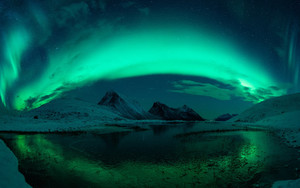 Preview wallpaper Aurora Borealis, Lake, Mountain, Night Sky, Snow