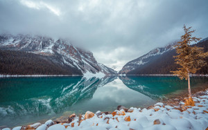 Preview wallpaper  Lake Louise, <b>Winter</b>, Mountains, Nature, Trees
