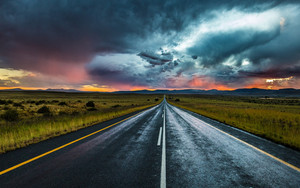 Смотреть обои Road, Marking, Evening, Clouds, Horizon