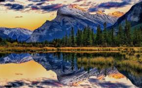 Смотреть обои Mount Rundle, Vermillion Lakes, Alberta, Canada