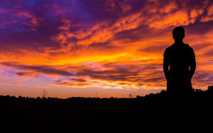 Смотреть обои Silhouette, Sunset, Sky, Night