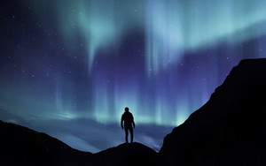 Смотреть обои Northern Lights, Silhouette, Mountains, Starry Sky