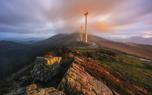 Preview wallpaper of Fog, Wind, Turbine, Nature