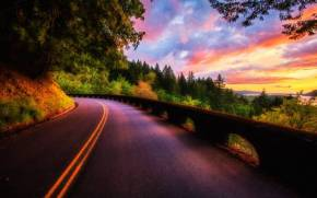 Смотреть обои nature, road, sky, clouds, sunset, landscape