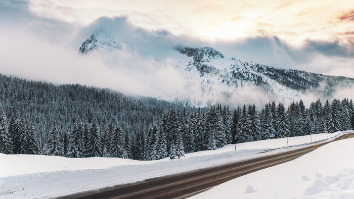 Wallpaper of Winter, Snow, Road, The Mountains, Fog background & HD image