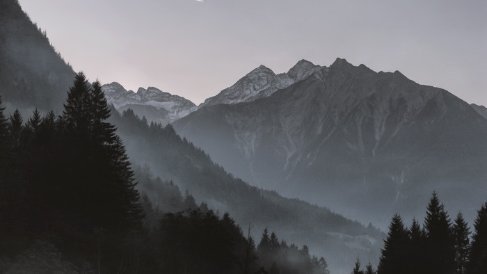 HD Wallpaper of Mountains, Shooting Star, Trees, Fog