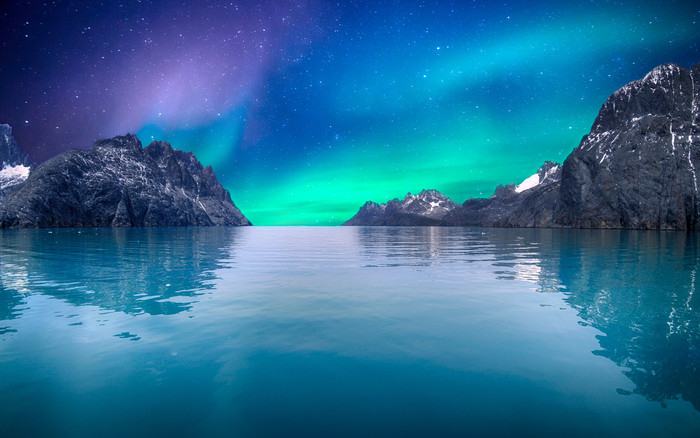 HD Wallpaper Aurora Borealis, Nature, Mountains, Lake