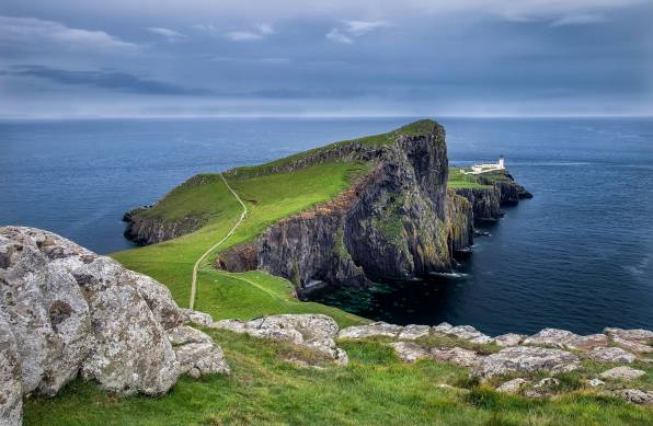 HD Wallpaper Neist Point, Scotland, мыс, маяк