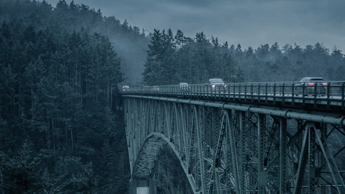 HD Wallpaper of Bridge, The Mountains, Trees, Fog, Wood