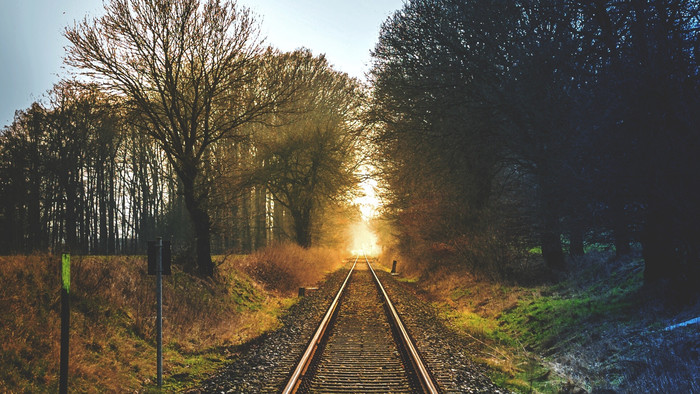 HD Wallpaper of Trees, Railway, Greenery, Sunset