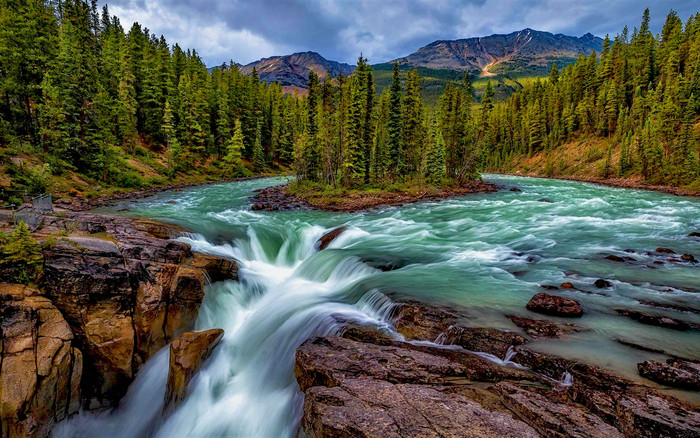 HD Wallpaper of Earth, Mountain, River, Forest, Waterfall
