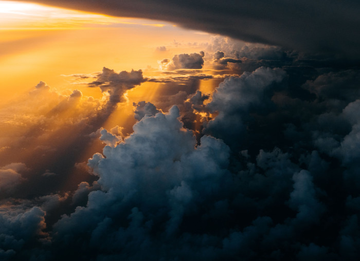 HD Wallpaper of Golden Sun, Clouds, Storm