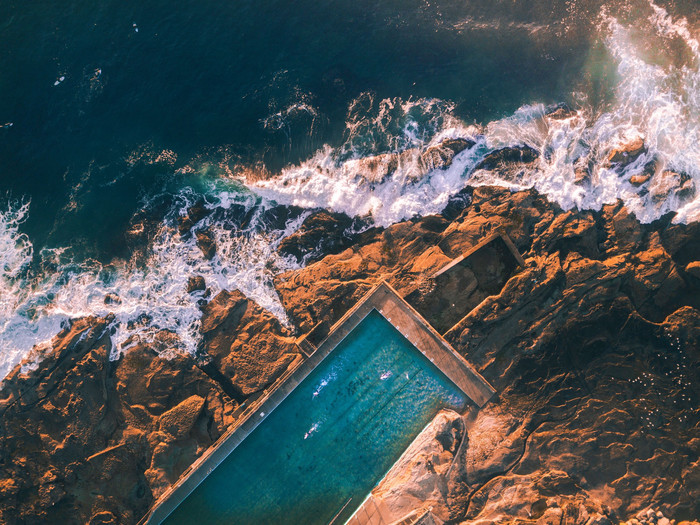HD Wallpaper Rocks, Swimming pool, Waves
