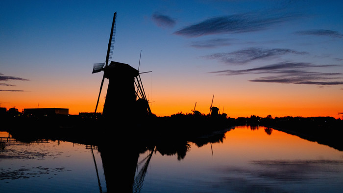 HD Wallpaper of Mill, Silhouettes. Sinset. River