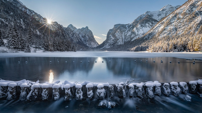 Lake, Mountain, Toblacher, See, Winter Wallpaper. Download Nature (Природа) HD desktop background image