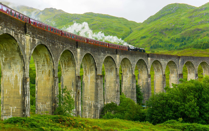 HD Wallpaper of Bridge, Train, Nature
