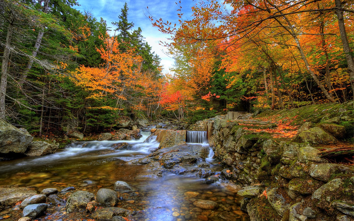 HD Wallpaper of Earth, Fall, Foliage, Forest, Waterfall