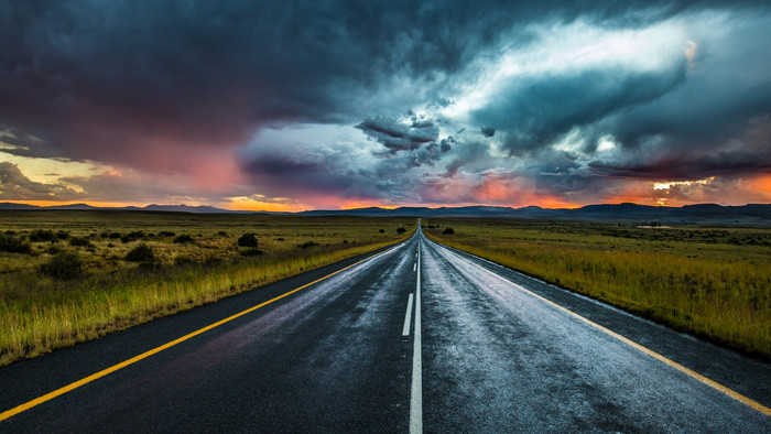 HD Wallpaper of Road, Marking, Evening, Clouds, Horizon