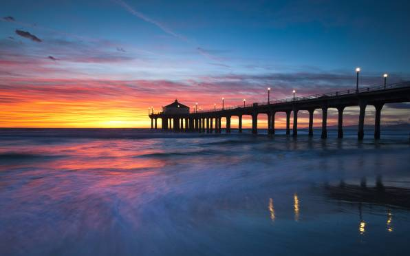 Manhattan Beach, закат, пирс, пейзаж Wallpaper. Download Nature (Природа) HD desktop background image