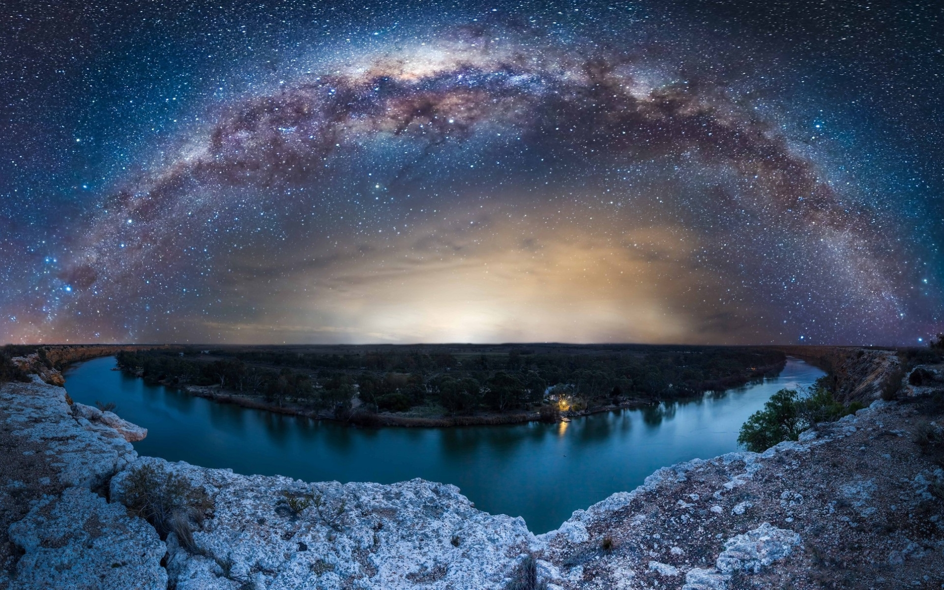 Wallpaper Of Milky Way Stars River Nature Trees