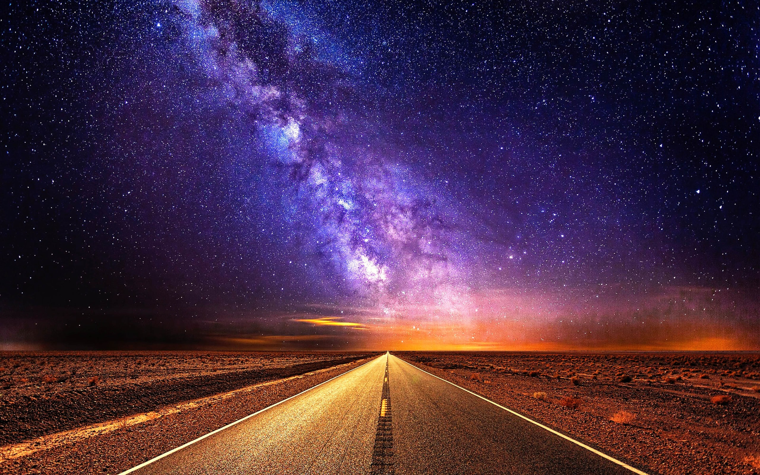 wallpaper of night road starlight sky stars background