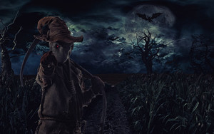 Preview wallpaper of Scarecrow, Scythe, Gloomy, Field, Night