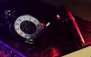 Preview wallpaper of Pocket Watch, Clock Face, Shine, Pen, Diary