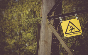 Preview wallpaper of Sign, danger, pylon, Danger of death