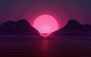Preview wallpaper of Retrowave, Sun, Sunset