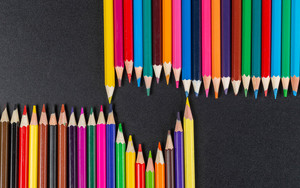 Preview wallpaper  <b>Colorful</b>, Heart-Shaped, Pencil
