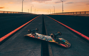 Preview wallpaper of Skateboard, Road, Marking, Sunset, Bridge