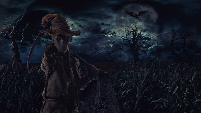 HD Wallpaper of Scarecrow, Scythe, Gloomy, Field, Night