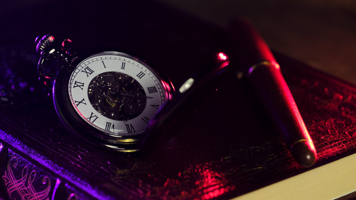 HD Wallpaper Pocket Watch, Clock Face, Shine, Pen, Diary