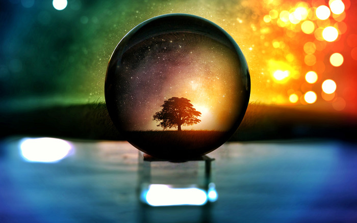 HD Wallpaper Bokeh, Globe, Trees