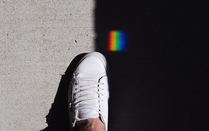 HD Wallpaper of Foot, Shadow, Rainbow, Sneakers