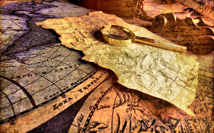 HD Wallpaper of Map, Magnifier, Records