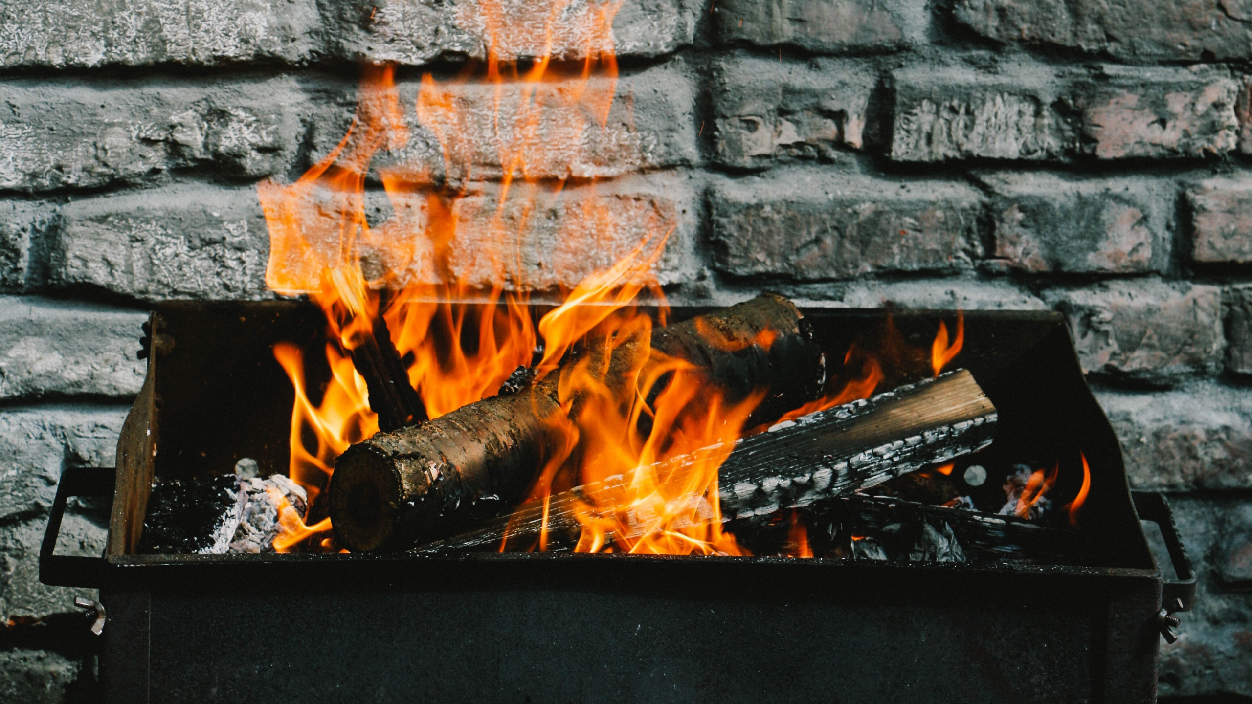 Wallpaper Of Firewood Fire Wall Barbecue Background Hd